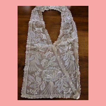 Silk Ecru French Net Lace Embroidery Collar