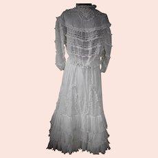 White Muslin French Lace Ruffled Lawn Tea Dress