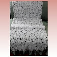 White Hand Made Tape Lace Panel, Runner, Shawl