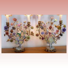 French Gilt Ormolu Figural Lamps Porcelain Flowers Roses