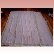 Pink Silk and Pale Ecru Alencon Lace Panel Coverlet