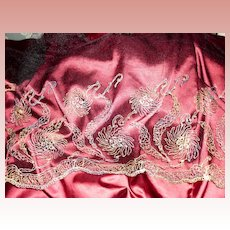 French Gold Metallic Embroidery Net Lace Flounce 4 Yards