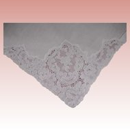 "10 White  French  Alencon Lace Linen Cotton Napkins 20"" x 20"""