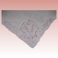 "10 White  French  Alencon Lace Linen Cotton Napkins 20"" x 20"""