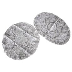 2 French Normandy Lace Round Oval Doily