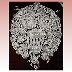 4 Large French Embroidery Net Lace Rose Baskets Fragments from Coverlet, Bedspread