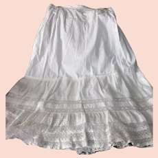 Lovely White Cotton  French Net Lace Petticoat
