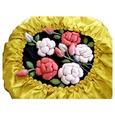 Satin 3 D Rose Covered Pillow Cover