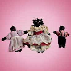 3 Tiny Black Cloth Dolls
