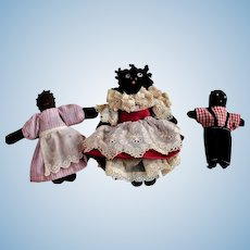 3 Tiny Black Cloth Dolls