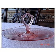 Depression Glass Pink Mayfair Sandwich Platter