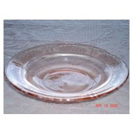 1930's Rose of Sharon Round Butter Dish, No Lid, Pink Depression Glass