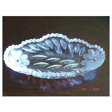 American Brilliant Period Crystal Wheel Cut Celery Dish