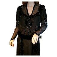 Antique Edwardian Black Beaded Titantic Era Evening Gown, Museum Quality