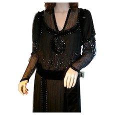 Museum Quality Edwardian Black Beaded & Chantilly Lace Evening Gown