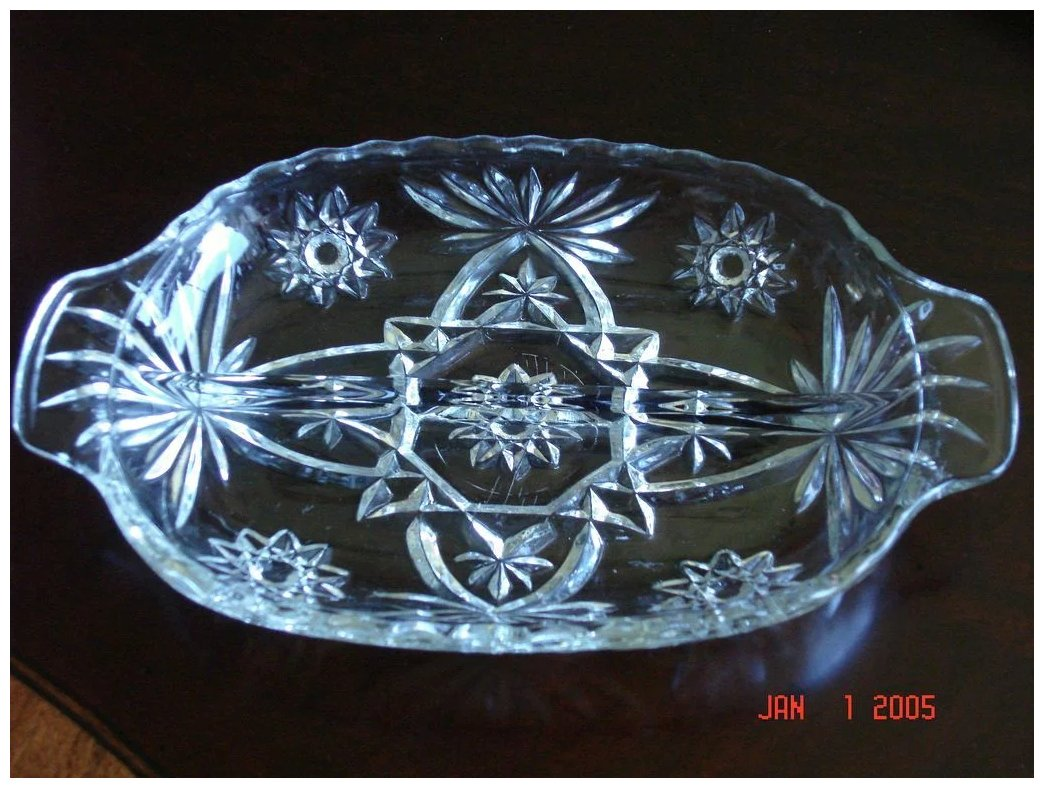 Vintage Star Of David Glass Relish Dish Iron Gate
