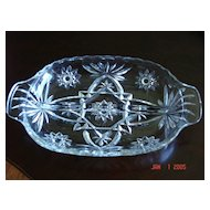 Vintage Star of David Glass Relish Dish