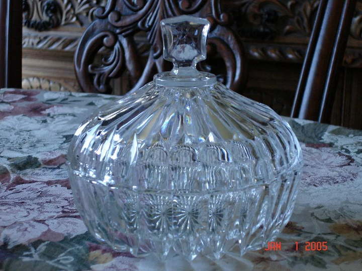 Vintage Crystal Candy Dish Iron Gate