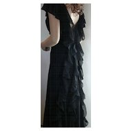 1930 Slinky Silk Chiffon Black Evening Gown
