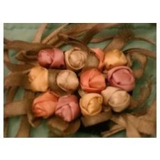 1920's Silk Rose Buds, One-of-a-kind Vintage Textile