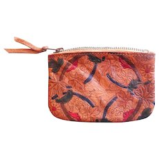 Vintage hand tooled leather Art Deco style coin purse