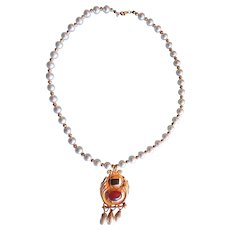 Vintage Cultured Pearl & Gold Plated Etruscan Revival Necklace