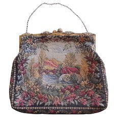 Antique Victorian Petite Point Purse from France