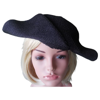 Sophisticated 1930's Navy Straw Hat