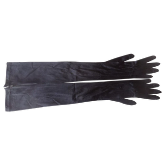 1930 Vintage Black Silk Elbow Gloves