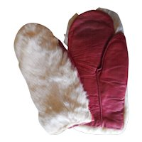 Vintage Rabbit Fur & Leather Mittens