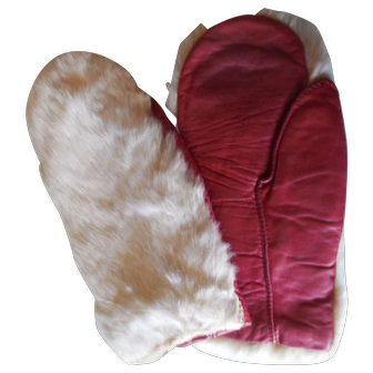 Vintage Rabbit Fur & Leather Mittens