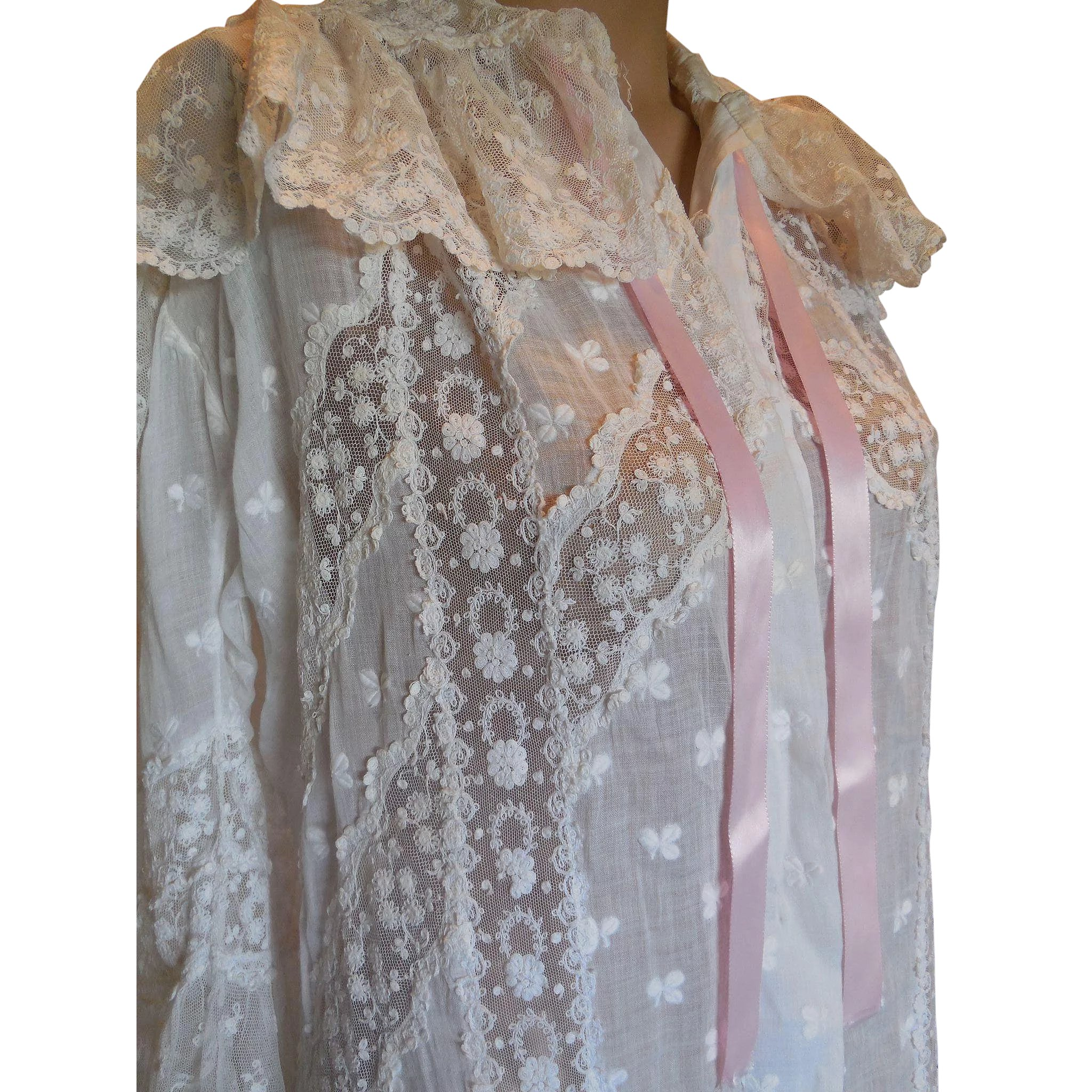 Victorian Cotton and Lace Dressing Gown : Iron Gate ...