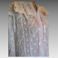 Victorian Cotton and Lace Dressing Gown
