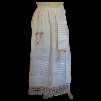 Rare White Cotton Victorian Apron
