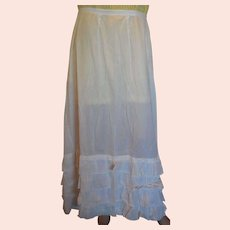 Victorian White Cotton Slip for Lawn Skirt