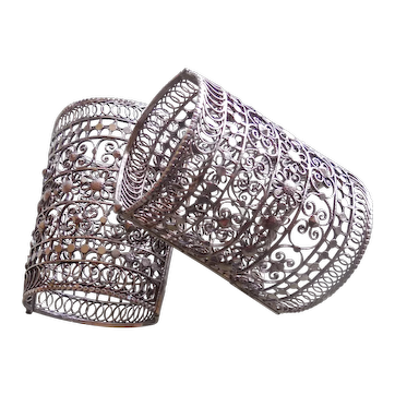 Ornate Vintage Art Deco Silver Filigree Cuff Bracelets