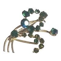 Vintage Dark Green Rhinestone Pin