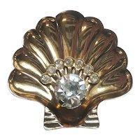 Vintage Shell Rhinestone Pin