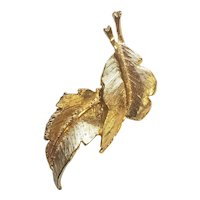 Gold Plated Leaves Vintage 1990's Pin