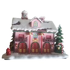 Vintage Rudolph's Christmas Lighted Houses - Fire Station