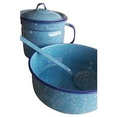 Vintage Turquoise Blue Enamelware