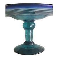 Vintage Hand Blown Blue Glass Dish