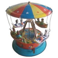 Vintage Carousel Tin Toy