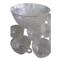 Vintage Sandwich Depression Glass Punch Bowl & Cups