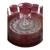 Rare Kings Crown Ruby Plates & Cordial Glasses