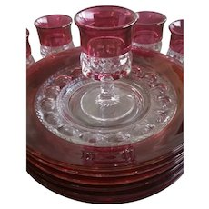 Rare Kings Crown Ruby Plates & Cordial Glasses