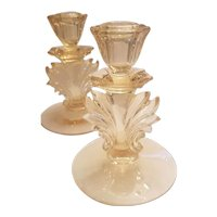 Vintage Fostoria Golden Glass Candlesticks for Easter