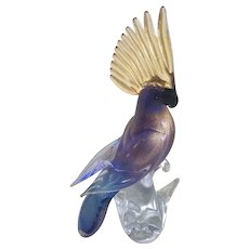 Vintage Blue and Gold Murano Glass Parrot