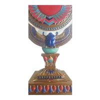 Vintage Egyptian Scarab Pedestal Vanity Mirror