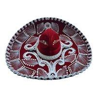 Vintage Pigalle Red Velvet Sombrero